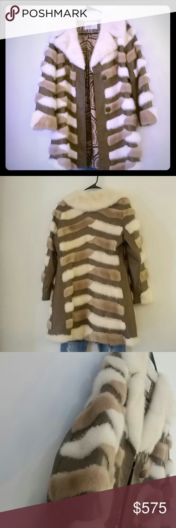 Gorgeous Drazens Mink & Leather Jacket Tan leather , off white  & tan Mink fur with a slight zig zag design. Beautiful off white big Mink collar. Worn twice. EXCELLENT condition. Drazens Jackets & Coats
