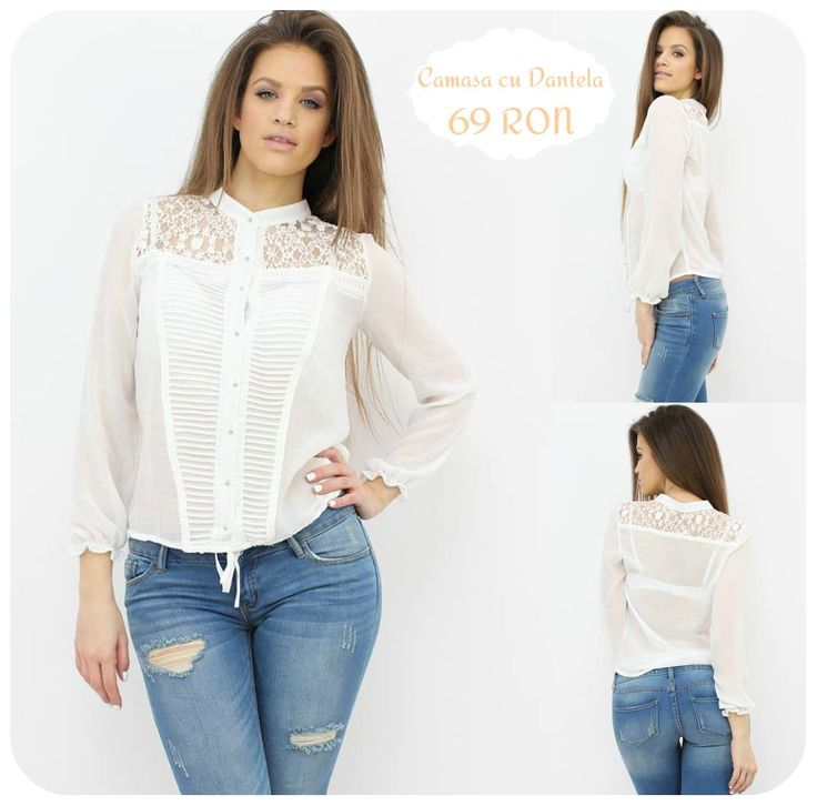 Chic Shirt with refined #lace insertions...a real treat for your wardrobe...:) Item available at www.famevogue.ro #top #shirt #outfit #style #fashion