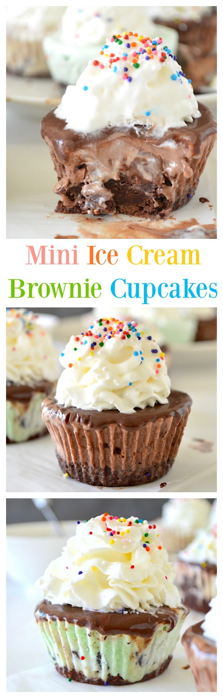 Mini Ice Cream Brownie Cupcakes - a chewy brownie layered with ice cream and…