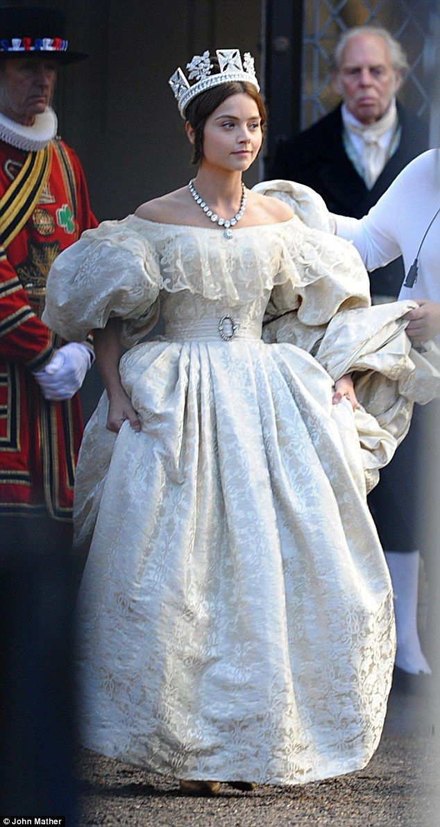 Royal role: Jenna Coleman was seen filming scenes for the anticipated ITV drama Victoria o...
