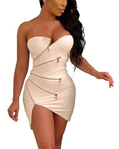 3c1831743b4 Sexy Club Outfits for Women - Elegant Zipper Front Strapless Irregular Hem  Mini Dress Clubwear Small White Women's Sexy Strapless Front Zipper Slim  Club ...