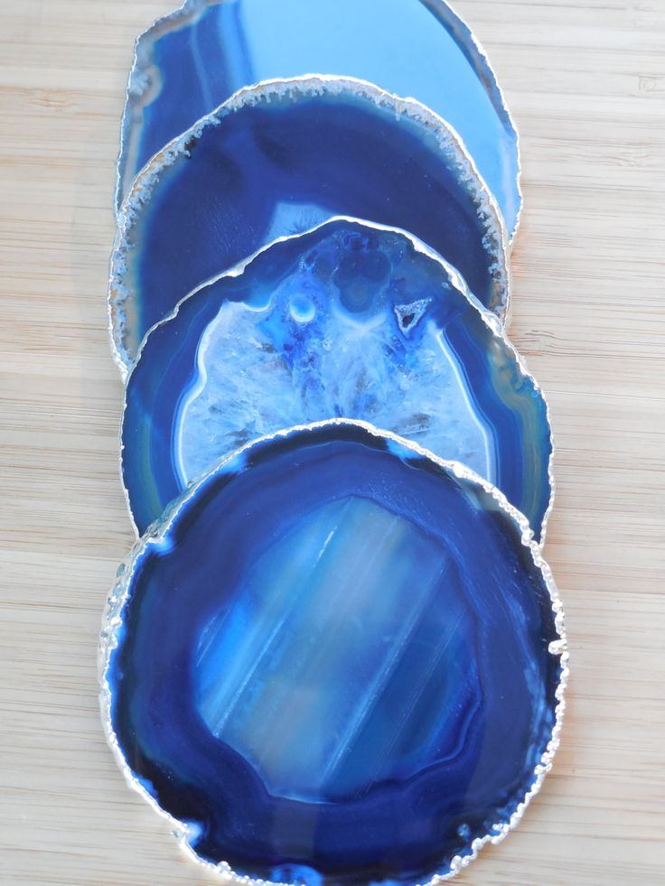 Agate Coasters - Set of 4 Blue Agate Coasters - Agate Slice Coasters, Silver Agate Coasters, Agate, Geode Slice, Geode Set, Raw Crystals by TheGeodeNook on Etsy