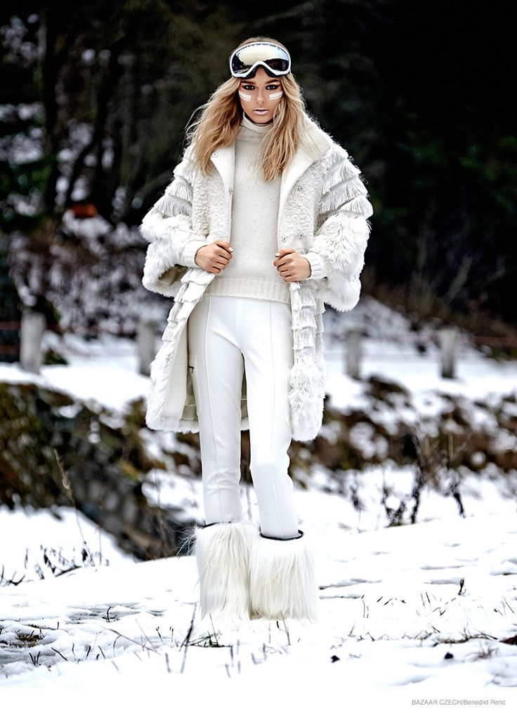 Looking ready to face the winter elements in her ski gear, model Henrieta M takes on snow fashion in the February 2015 issue of Harper's Bazaar Czech. Photographed by Benedikt Renc and styled by Martina Gvizdova, the blonde beauty suits up in fur boots, sweaters and leggings paired with cool eyewear in this wintry spread. Mrtin Tyl worked on hair with makeup by Renata Zelinkova. / Fashion ...