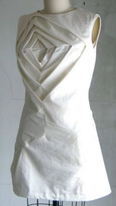 Fabric Manipulation for fashion design - Shingo Sato inspired origami dress with dimensional nestling shape structure - creative pattern-making; couture sewing techniques