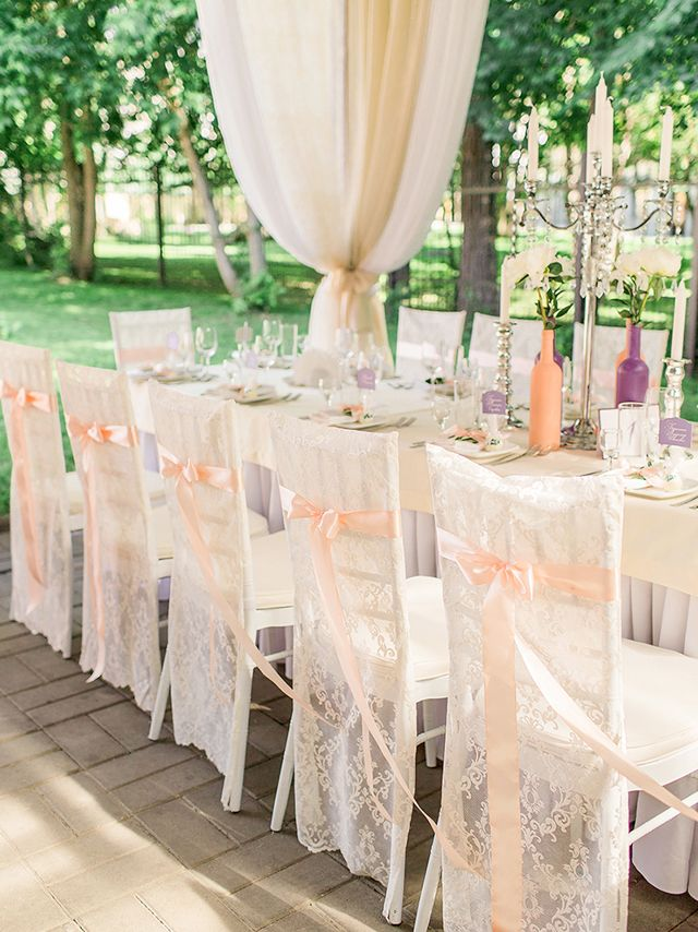 Chiavari chairs with lace covers   Olga Plakitina Photography   see more on: http://burnettsboards.com/2015/12/classic-wedding-peach-gray/
