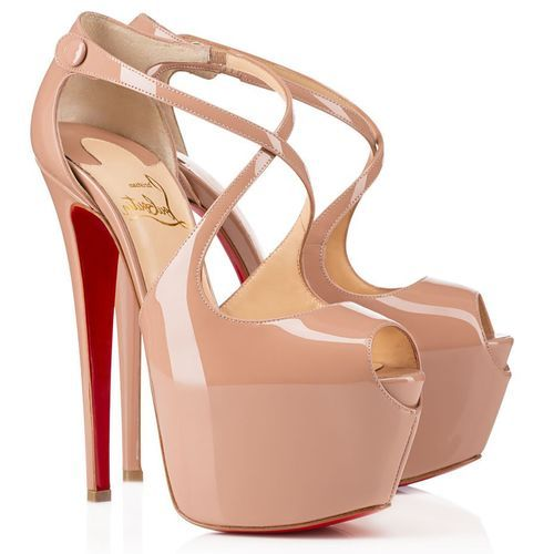 christian louboutin platform sandals Nude patent leather covered ...