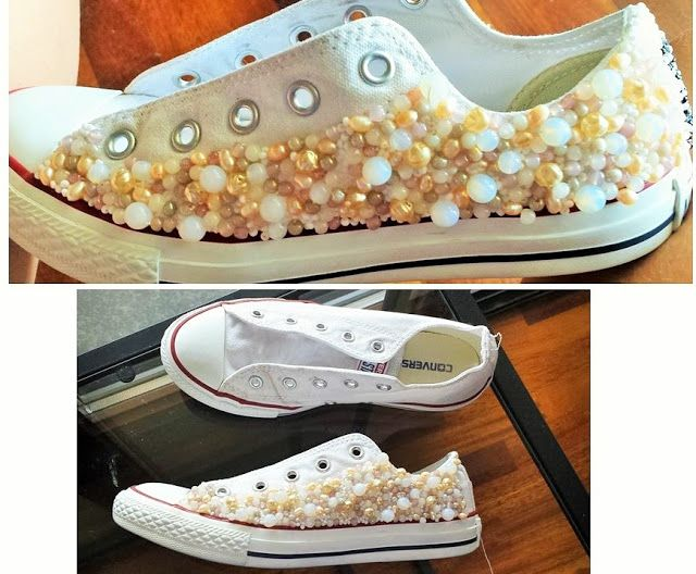 DIY - Embellished converse for a bride http://carlaleyton-imageconsulting.blogspot.it/2015/07/converse-shoes-for-bride.html #diy #brides #weddings #brideshoes