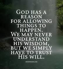 God isn't the reason bad things happen.. Believe that one day things will get better trust him in everything you hold.. let him help you!! And never push him away!! Amazing things will happen in time. Be PATIENT!