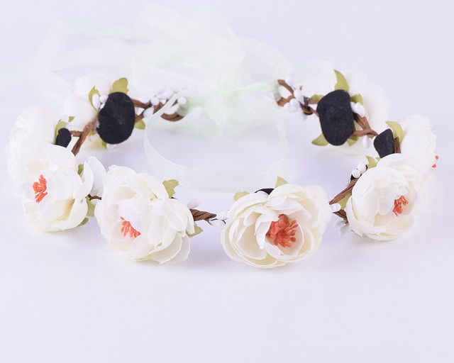 CXADDITIONS Bridal Floral Adjustable Crown Hair Wreath girl Breath Camellia Flower Simple Halo Woodland Hairpiece Wedding Rustic