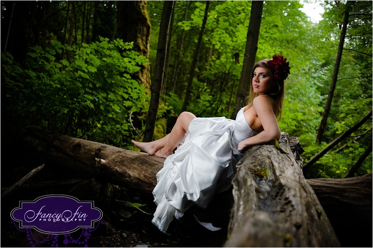 Trash the Dress wedding photography in a forest near Seattle