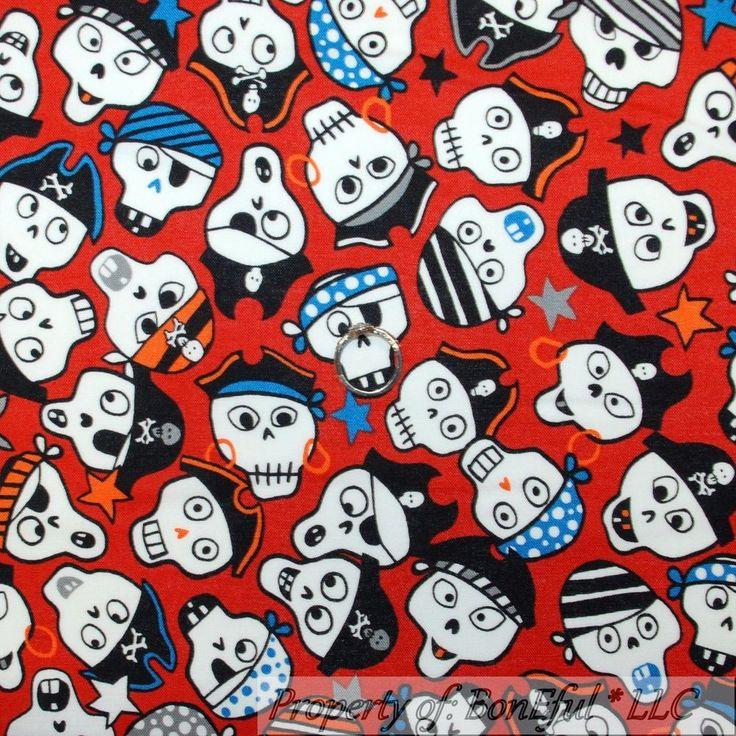 BonEful Fabric Cotton Quilt Black Red B&W Gothic Skeleton Skull Pirate Boy SCRAP #AlexanderHenry