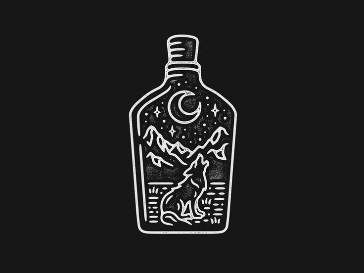 Whiskey Bottle Wolf by Liam Ashurst #Design Popular #Dribbble #shots