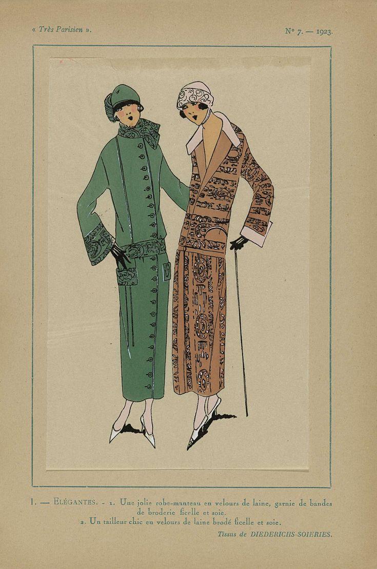 Anonymous | Très Parisien, 1923, No 7: 1-ELÉGANTES. - 1. Une jolie robe-manteau..., Anonymous, Diederichs-Soieries, G-P. Joumard, 1923 | 1.  'Robe-manteau' (jasjurk) van 'velours de laine' (wolfluweel), gegarneerd met banden borduurwerk van koord(?) en zijde. 2. Een tailleur (mantelpak) van 'velours de laine' (wolfluweel) geborduurd met koord(?) en zijde. Stoffen van Diederichs-Soieries. Prent uit het modetijdschrift Très Parisien (1920-1936).