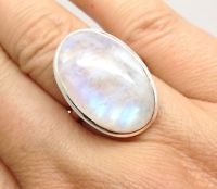 rainbow moonstone Chunky oval ring, uk size R, actual one, Solid Sterling Silver