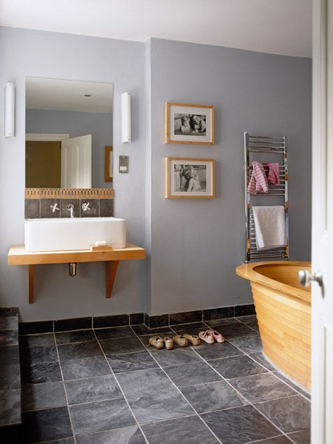 : Wall Colors, Bathroom Design, Wooden Tubs, Blue Bathroom