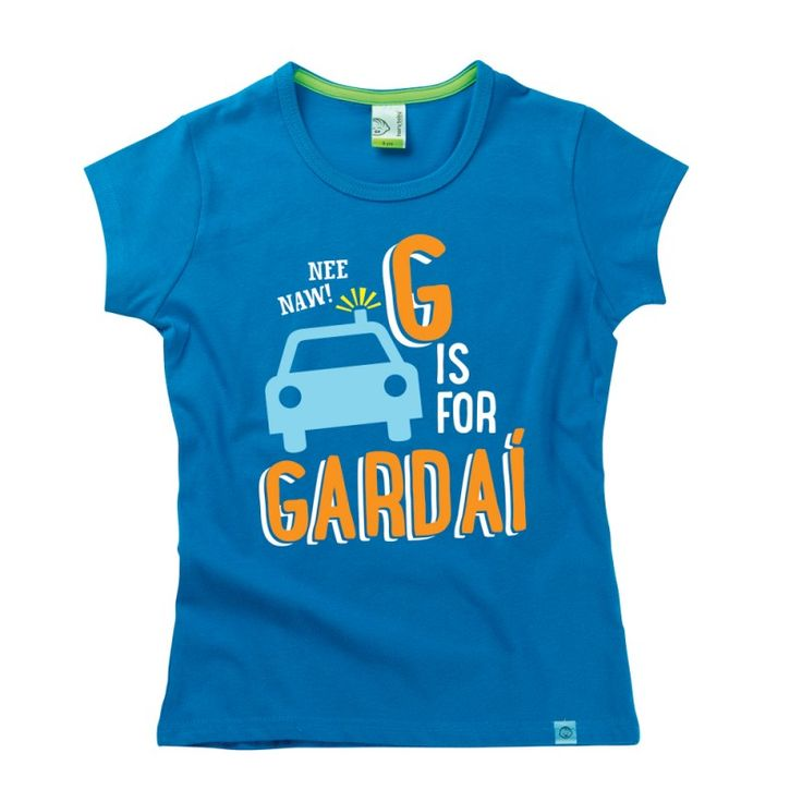 G is for Gardaí Kids Alphabet T-Shirt by Hairy Baby