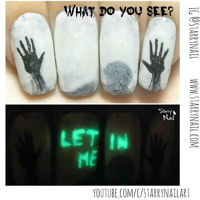 Invisible creepy message www.starrynail.com VIDEO TUTORIAL: https://youtube.com/c/StarryNailArt
