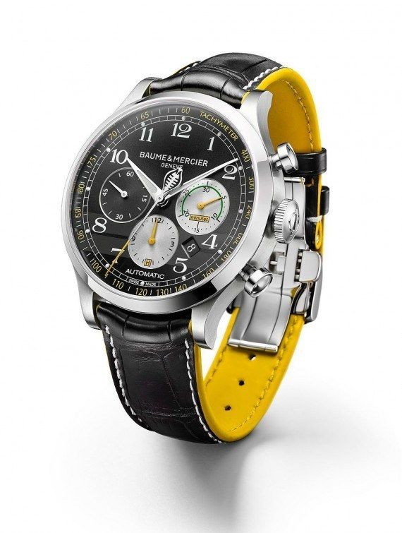 The @baumeetmercier Capeland Shelby Cobra 1963 in stainless steel with satin-brushed and polished finishing, attached to a black alligator strap with white contrast stitching and yellow, rubberized calfskin lining. This watch is limited to 1,963 pieces, honoring the year of the Cobra CSX2128's historic victory at Sebring. More @ http://www.watchtime.com/wristwatch-industry-news/watches/baume-mercier-capeland-shelby-cobra-limited-editions/ #baumeetmercier #watchtime  #chronograph #SIHH2016