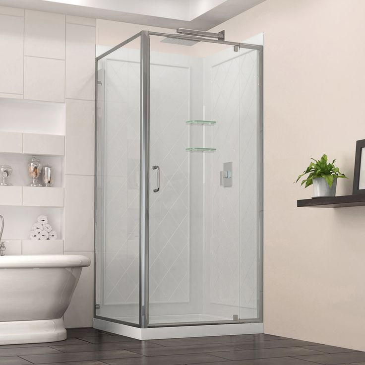DreamLine Flex White Acrylic Wall And Floor Square 3 Piece Corner Shower  Kit (Actual