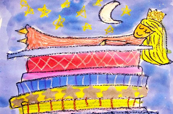 How much fun is The Princess and the Pea? A combination of oil pastels, craft paper and watercolors. Inspired by Easely Amused and brought to us via Deep Space Sparkle.