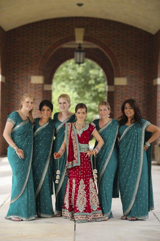 13a indian wedding red and green bridal lengha green bridesmaid saris. More wedding photos: http://www.indianweddingsite.com/multicultural-fusion-new-york-indian-wedding-clarkwalker-studio/