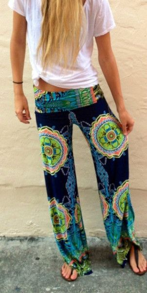 Relax in style with these trendy beautiful Palazzo Pants. Gorgeous bright colors allow this outfit to go with lots of different tops. Boho pants