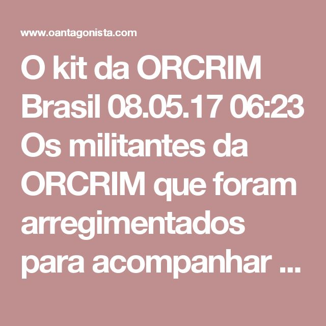 """O kit da ORCRIM  Brasil 08.05.17 06:23 Os militantes da ORCRIM que foram arregimentados para acompanhar o depoimento de Lula em Curitiba receberam a ordem de """"se trajar com a simbologia da luta"""", segundo a Folha de S. Paulo. Ele devem exibir """"bonés ou chapéus, camiseta vermelha, além de faixas e cartazes"""". A cartilha da ORCRIM diz também: """"Não devemos entrar em provocações (…) por parte dos coxinhas""""."""