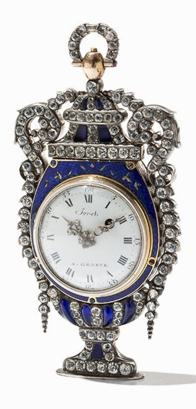 Soret Geneva - An elegant and rare antique pocket watch, Switzerland, circa 1800. Watch case of 18K gold and silver, set with rhinestones. 10.6 x 5 cm.
