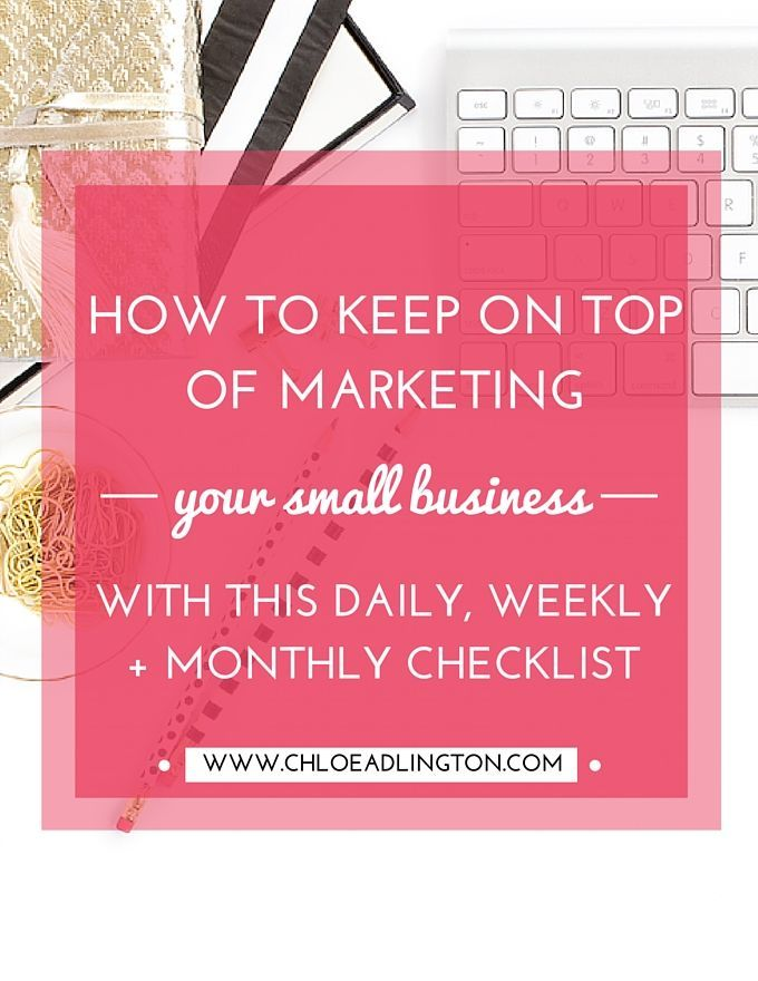 Even if you love 'marketing' it's one of those small business activities which is a little bit like cleaning the house. You need to keep chipping away at the tasks on a regular basis, otherwise it all piles up and requires a huge effort to get back on track! Today I thought I'd share with you my checklist of the marketing (and business planning) tasks that help me keep on top of it and might be a useful starting point for you too: Daily * Prioritise 3 - 6 things from m