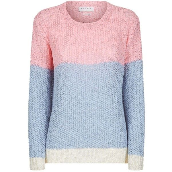 Sandro Colour Block Knitted Sweater ($280) ❤ liked on Polyvore featuring tops, sweaters, crochet knit sweater, blue oversized sweater, long sleeve sweater, color block sweater and knit sweater