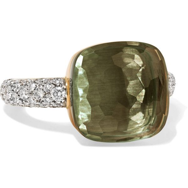 Pomellato Nudo 18-karat rose and white gold, prasiolite and diamond... (18.560 BRL) ❤ liked on Polyvore featuring jewelry, rings, prasiolite ring, white gold band ring, 18 karat gold ring, 18 karat diamond ring and green diamond ring