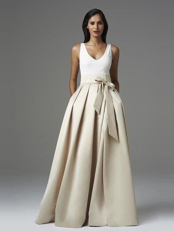 A-Line/Princess V-neck Floor-Length Satin Wedding Dress With Bowknot