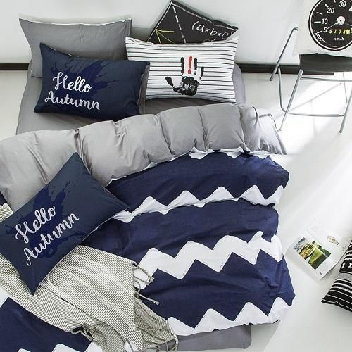 100cotton geometric brife style wholesale bedding set queen twin double single size bed set grey white