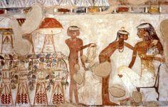 Tomb of Djeserkareseneb (TT38), reign of Thutmose IV or early Amenhotep III: female attendants at banquet © OSIRISNET.NET