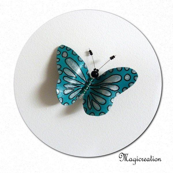 MAGNET PAPILLON VINYLE TURQUOISE-ARGENTE - Boutique www.magicreation.fr