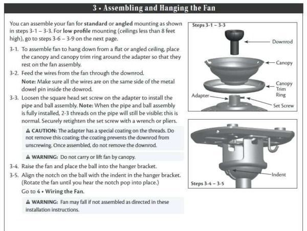 hampton bay ceiling fans installation instructions  ceiling