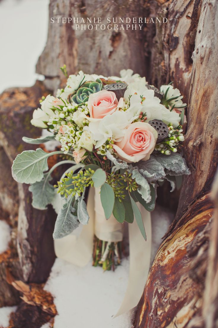 Madie's Bridal Bouquet: light peach roses, white ...