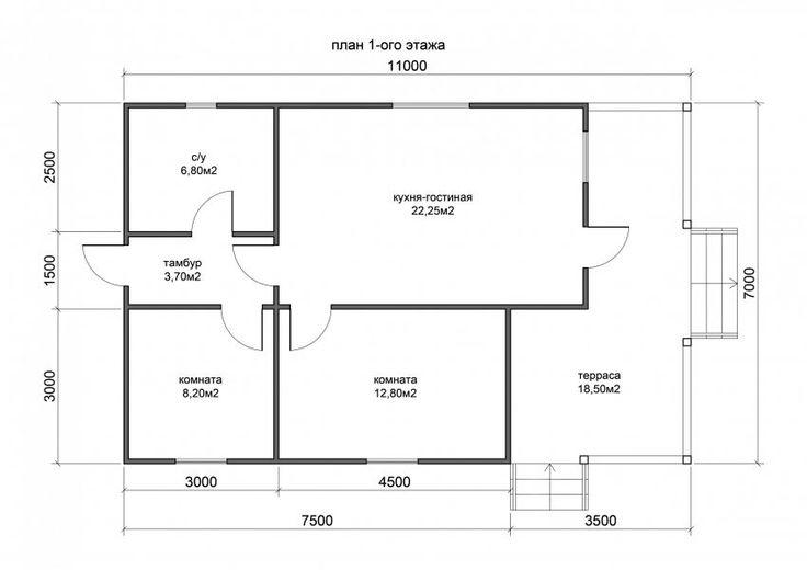 Проект Д-87 дом из бруса 7х11 м. — Проекты домов и коттеджей из бруса под ключ