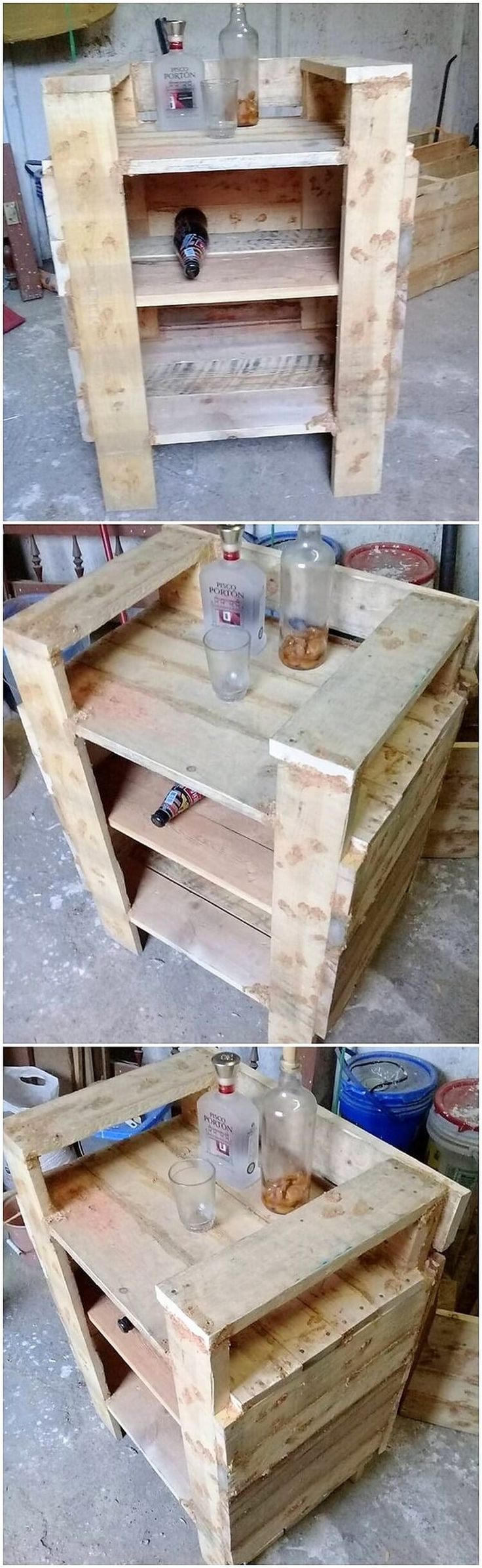 Adding the pallet creative wine rack stand is one of the ideal option which you can undergo by using wood pallet material. It is basically style up in long giant staircase style that is all settled with the blend of the portions of shelves into it. Make your house bar area attractive looking with this creation!