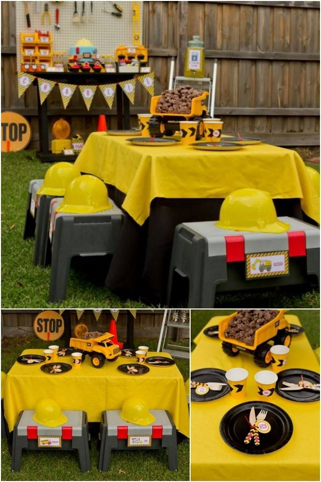 Boys Construction Birthday Party Table Decorations www.spaceshipsandlaserbeams.com