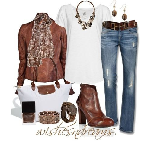 tan leather jacket + patterned scarf + white tee + jeans + tan belt + boots + longchamp bag ***need scarf and bag