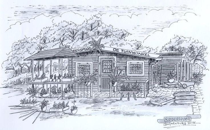 Tekening van De Tuinwinkel gemaakt door Joop Luynenburg