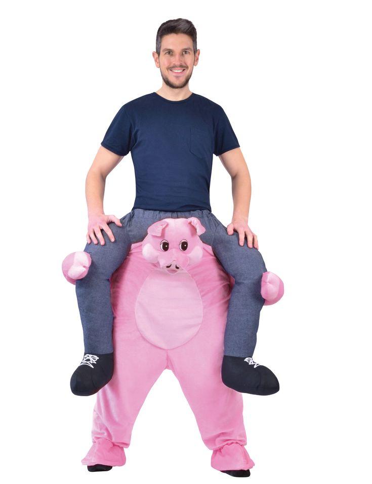 Dit man op de rug van een varken kostuum voor volwassenen zal perfect geschikt zijn als originele carnavalskleding! - Nu verkrijgbaar op Vegaoo.nl
