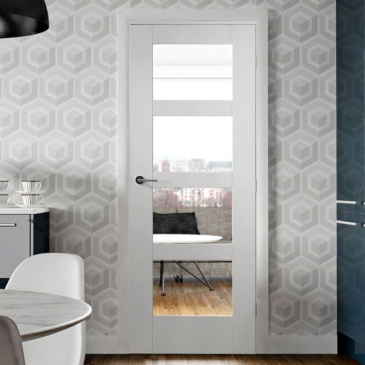 Door Set Kit, Shaker 4 Pane Door - Clear Safe Glass - Primed. #shakerdoor #whitedoor #glazedshakaerstyledoor