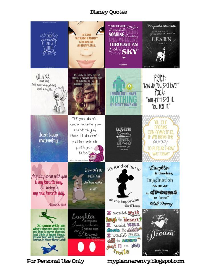 Disney Quotes - Free Planner Printable Stickers - My Planner Envy