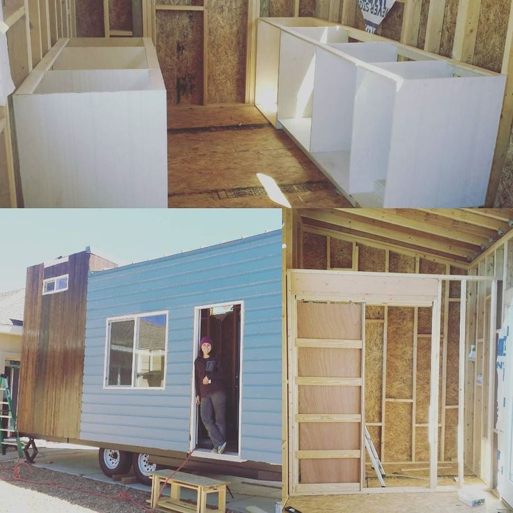 Building our custom kitchen cabinets and a little pocket door for the bathroom. Tiny living here we come. #tinyhousenation #tinyhouse #constructionlife #tinyhousemovement #housebuilding by jschliefs