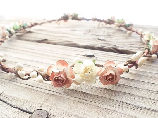 Rustic+and+chic+woodland+flower+crown.+This+head+piece+would+make+a+wonderful+addition+to+your+wedding+attire.+Crafted+from+handmade+mini+parchment+Roses+in+Vintage+Ivory+&+Pure+Ivory,+with+Ivory+Berries+through+out+and+adorned+on+a+bendable+handmade+rustic+hair+wreath.+Simply+Beautiful.....    F...