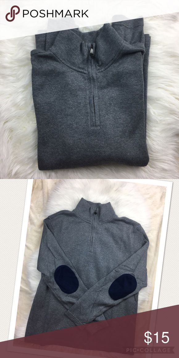 Banana Republic Elbow Patch Sweater Banana Republic Grey Quarter Zip Blue Elbow Patched Sweater Size Large Worn Once Banana Republic Sweaters Zip Up