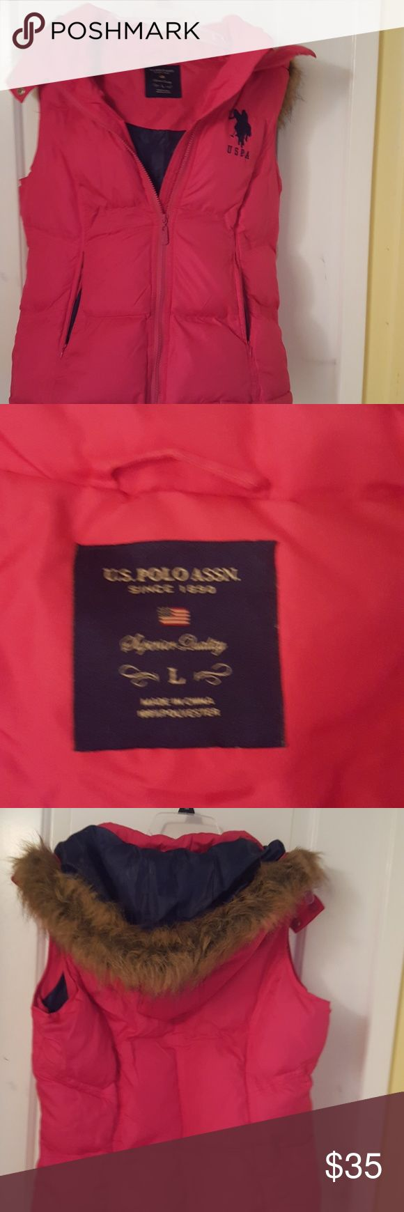 Ralph Lauren Hooded Vest Polo Ralph Lauren Hooded puffy vest, bright pink, never worn. Polo by Ralph Lauren Jackets & Coats Vests