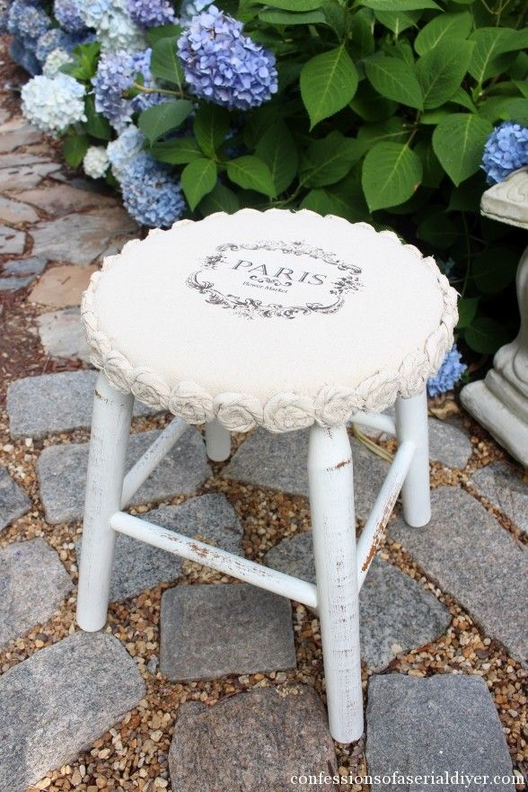 Dropcloth-Rosette-Trimmed-Stool